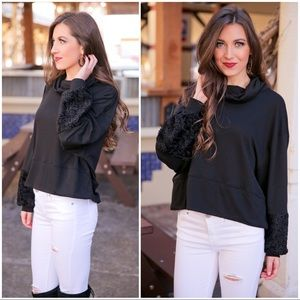 Black Cowl Neck with Faux Fur Sleeve Detail